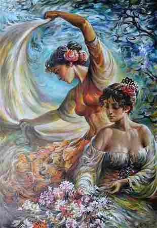 ARKADY **DANCE OF THE ROSES ** SIGNED ORIGINAL OIL