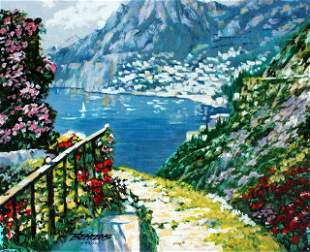 BEHRENS **ROAD TO POSITANO** SIGNED CANVAS