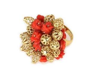 Vintage Carved Coral Rose 14k Yellow Gold Filigree