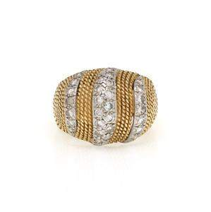 Hammerman Brothers Diamond 18k Two Tone Gold Fancy Dome