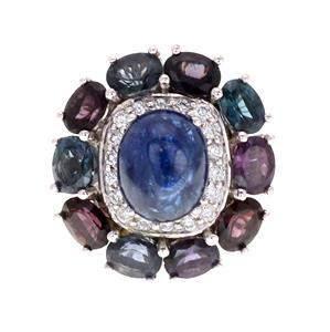 Estate 9.30ct Multi Color Sapphire & Diamond 18k White