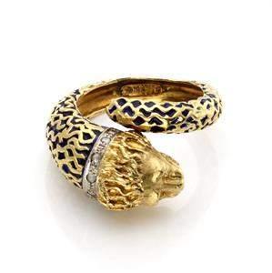 Vintage Rose Cut Diamond Enamel 18k Yellow Gold Lion