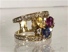 STUNNING DIAMOND AND MULTI COLOR SAPPHIRE RING SET IN 1