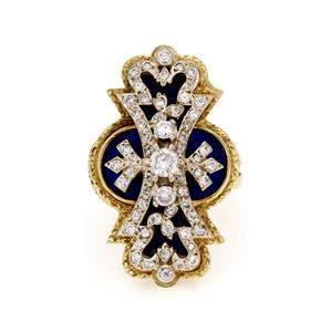Vintage 1.00ct Diamond Enamel 14k Yellow Gold Fancy