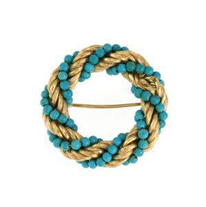 Vintage Turquoise Bead 18k Yellow Gold Rope Twisted