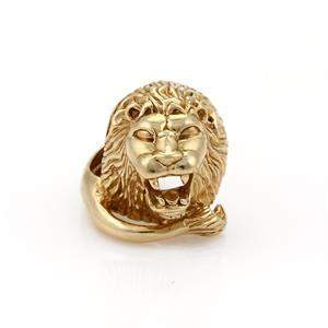 Men's 14k Yellow Gold Large Lion Head Ring 25.4gr Size