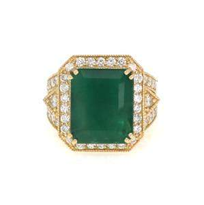 Stunning 11.00ct Diamond Emerald 14k Yellow Gold