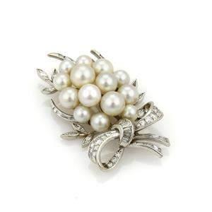 2.00tcw Diamond & Pearls 14k Gold Ribbon Bow Cluster