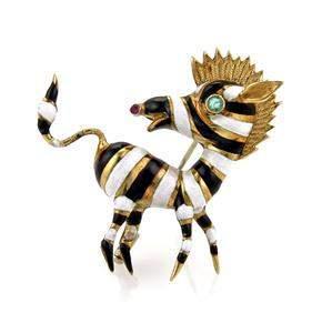 Vintage 18k Yellow Gold Emerald & Ruby Enamel Zebra