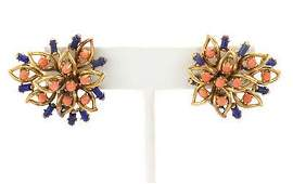 Vintage Lapis  Coral 18k Yellow Gold Floral Post Clip