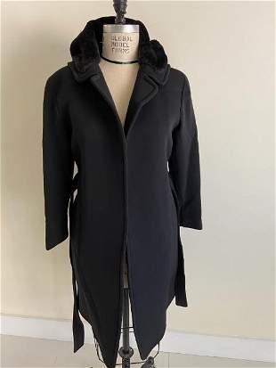 Alexander Wang Hooded wool coat with fur trim