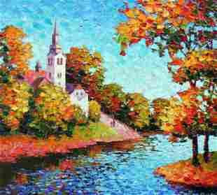 ANTANENKA **A STEEPLE ON THE HILL ** SIGNED CANVAS