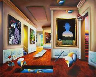 FERJO ** INTERIOR WITH MAGRITTE ** SIGNED CANVAS
