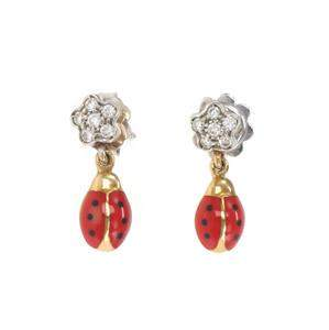 Aaron Basha Diamond Enamel 18k Gold Lady Bug Flower