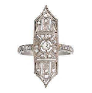 Art Deco Rose Cut Diamonds Platinum Long Ring Size 8.25