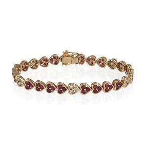 Elegant 14k Yellow Gold 4.50ct Diamond Ruby Heart Link
