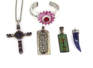 Vintage 5 Pieces Gems Sterling Silver Bracelet Chain &