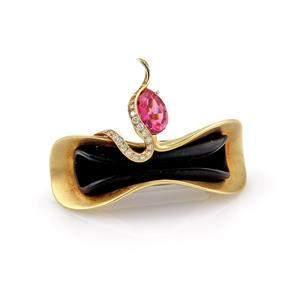 Designer 2.36ct Diamond Tourmaline Onyx 18k Gold Pin