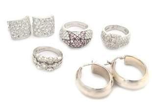 Vintage Lot of 5 Cubic Zirconia Earrings & Rings