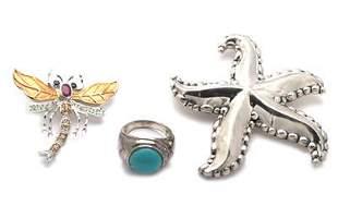 Vintage Lot of 3 Pieces Sterling Silver Gems Pendants