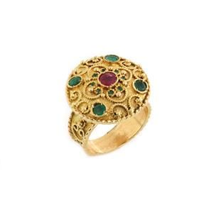 Estate Emerald Ruby Etruscan Round Top 18k Yellow Gold