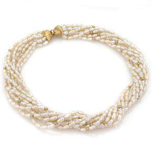 Vintage 14k Yellow Gold Multi-Strand Rice Pearls