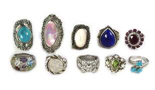 Vintage Lot of 10 Rings Turquoise Lapis Marcasite
