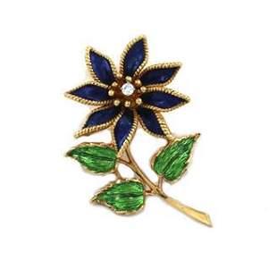 Tiffany & Co. Vintage Diamond Enamel 18k YGold Flower