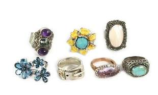 Vintage Lot of 7 Rings Turquoise Marcasite & Gems