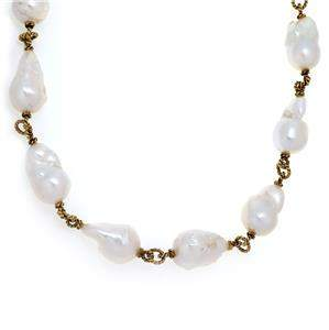Large Baroque Pearls 14k Yellow Gold Toggle Cable Link