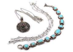 Vintage Lot of 3 Sterling Silver Turquoise CZ Necklace