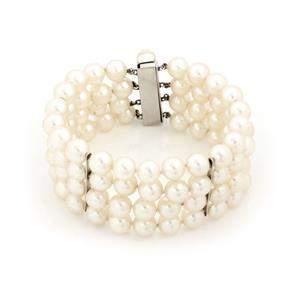 Vintage 4 Strand Cultured Pearls 14k White Gold Wide