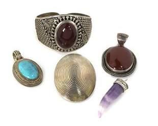 Vintage Lot of 5 Pieces Sterling Silver Gems Bracelet &