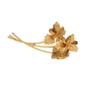 Vintage 18k Yellow Gold Fancy Triple Flower Leaf Sprig