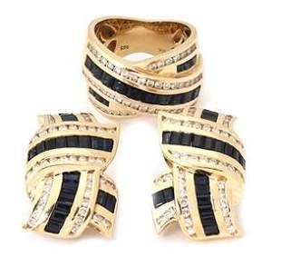 Gorgeous 9.00ct Diamond Sapphire 14k Gold Earrings &