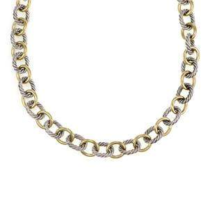 David Yurman 925 Silver 18k Yellow Gold Oval Cable Link