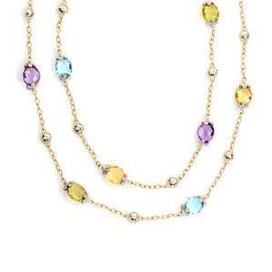 Diamond Multicolor Gems 14k Two Tone Gold Floral Fancy