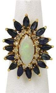 Gorgeous 9.45ctw Opal Diamond & Sapphire 14k Yellow