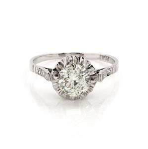 Art Deco 1.49ct European Cut Solitaire Accent Diamond
