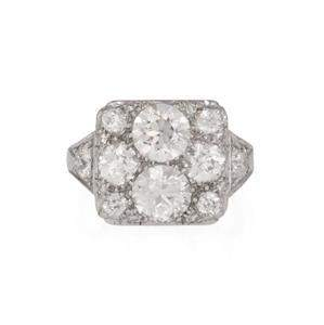 Art Deco Platinum 4.10ct Diamond Rectangle Top Ring