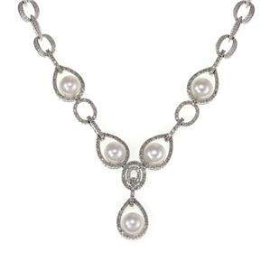 14k White Gold 1.00ct Diamond Pearls Fancy Necklace