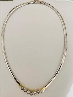 DIAMOND AND FOURTEEN KARAT WHITE GOLD CHOKER NECKLACE