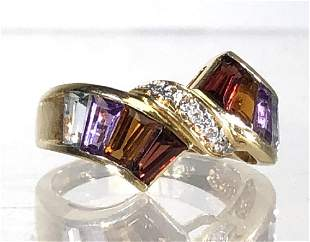 MULTI-COLOR GEMSTONE, DIAMOND AND 14K GOLD RING