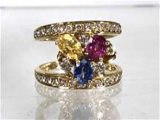 STUNNING DIAMOND AND MULTI COLOR SAPPHIRE RING