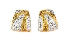 Fancy 2.70ct Yellow & White Diamonds 18k Gold Huggie
