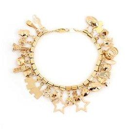 14k Yellow Gold Multi-Charms Chain Bracelet