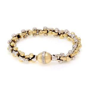 Braccio 14k Two Tone Hefty Stirrup Link Bracelet