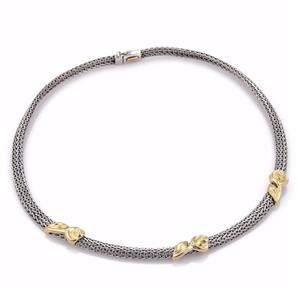 Estate 14k Gold 6mm Wide Fish Bone Floral Collar