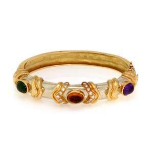 Estate Diamond & Gems 18k Yellow Gold Fancy Bracelet