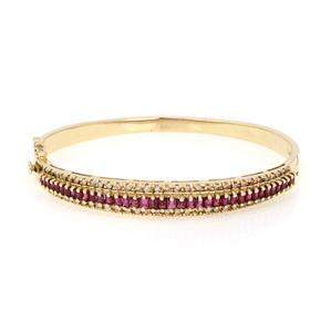 Estate 4.5ct Ruby & Diamond 14k Yellow Gold Bangle